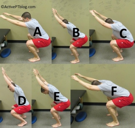 A) Arm Drop B) Excessive Arching C) Low Back Rounding D) Heel Rise E) Forward Head F) Excessive Forward Lean