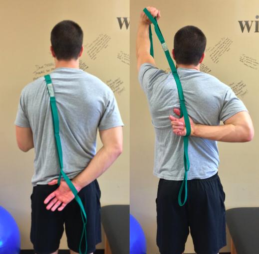 Repeated functional shoulder IR x20 reps